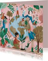 Woonkaart botanisch bomen en aarde