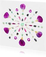 Woonkaart kleurrijke mandala met fluoriet en tulpenblaadjes
