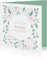 Woonkaart met geïllustreerde bloemen en quote