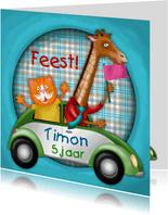 YVON straat kat giraf auto kinderkaart