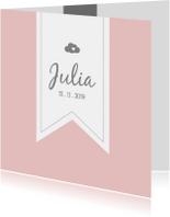 Zachtroze geboortekaartje met label