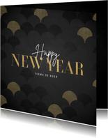 Zakelijk nieuwjaarskaart goud vintage patroon Happy New Year