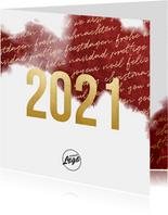 Zakelijke 2021 goud kerstkaart internationaal waterverf