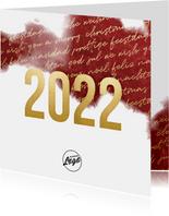 Zakelijke 2022 goud kerstkaart internationaal waterverf