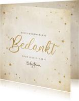 Zakelijke kerst bedankkaart met gouden sterren 'Bedankt'
