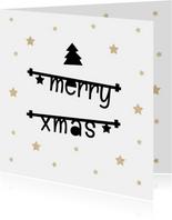 Zakelijke kerstkaarten - Zakelijke kerstkaart 2019 met tekstslingers, sterren en logo
