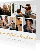Zakelijke kerstkaart beautiful christmas goud fotocollage