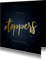 Zakelijke kerstkaart bedankt hashtag toppers