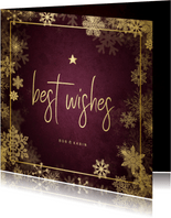 Zakelijke kerstkaart best wishes bordeaux met goudlook kader