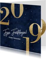 Zakelijke kerstkaart blauw goud 2019