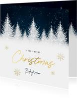 Zakelijke kerstkaart blauwe waterverf, boompjes & typografie