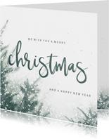 Zakelijke kerstkaart christmas met kerstbomen en sneeuw