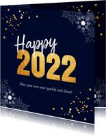 Zakelijke kerstkaart donkerblauw 2022 goudlook confetti