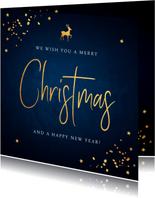 Zakelijke kerstkaart blauw confetti goudlook