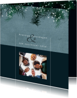 Zakelijke kerstkaart, eenvoudig met dennetakjes en lichtjes