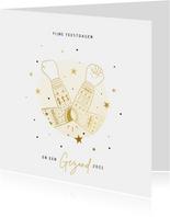 Zakelijke kerstkaart ellebooggroet goud kersttrui sterren