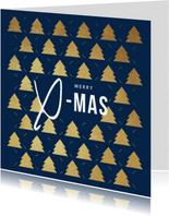 Zakelijke kerstkaart goud kerstbomen x-mas foto