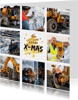 Zakelijke kerstkaart goud kerstboom fotocollage bouwbedrijf
