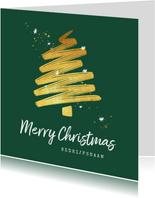 Zakelijke kerstkaart goud stijlvol sterren kerstboom
