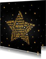 Zakelijke kerstkaart goudlook ster internationaal