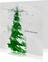 Zakelijke kerstkaart groene verf kerstboom