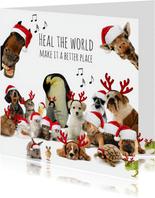 Zakelijke kerstkaart 'heal the world' diverse dieren