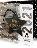 Zakelijke kerstkaart hout 2021 label ster