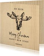 Zakelijke kerstkaart houtprint en pentekening rendier