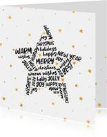 Zakelijke kerstkaart internationaal goudlook ster