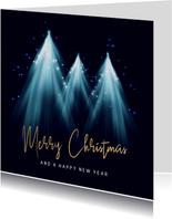 Zakelijke kerstkaart kerstbomen en lichtjes