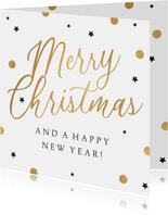 Zakelijke kerstkaart merry christmas goud confetti sterren