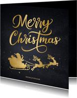 Zakelijke kerstkaart met goud silhouet van kerstman in slee