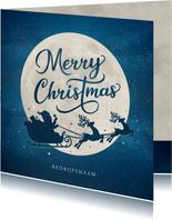 Zakelijke kerstkaart met silhouet van kerstman in arrenslee