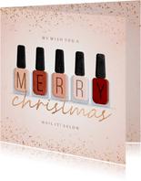 Zakelijke kerstkaart nagellak manicure pedicure met glitters