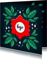 Zakelijke kerstkaart rood groen met logo en foto