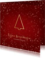 Zakelijke kerstkaart rood kerstboom- Een gouden kerst