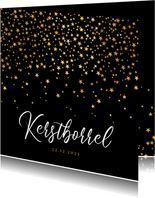 Zakelijke kerstkaart sterren goud kerstborrel uitnodiging