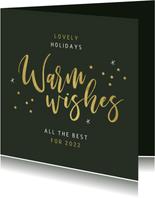 Zakelijke kerstkaart warm wishes goud confetti sterren