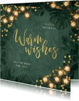 Zakelijke kerstkaart warm wishes lampjes groen botanisch