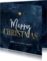 Zakelijke kerstkaart waterverf Merry Christmas met ster