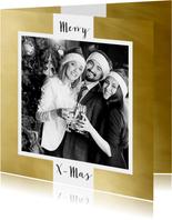 Zakelijke kerstkaart wit kader goud eigen foto