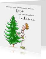 Zakelijke kerstkaart zorg dokter onderzoekt kerstboom