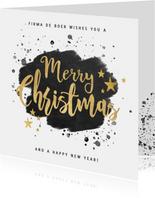 Zakelijke kerstkaart zwarte waterverf en gouden typografie