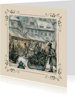 Zakelijke kerstkaarten - Anton Pieck kerstmarkt met kader