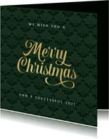 Zakelijke merry christmas kaart art deco patroon goud groen