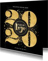 Zakelijke nieuwjaarskaart gouden 2020, spetters en logo