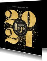 Zakelijke nieuwjaarskaart gouden 2021, spetters en logo