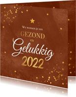 Zakelijke Nieuwjaarskaart roestbruin goudlook confetti