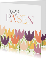 Zakelijke paaskaart vrolijk pasen met tulpen roze paars geel