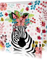 Zebra met bloementooi verjaardagskaart